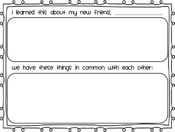 Back to School Activity: Compare/Contrast a New Friend