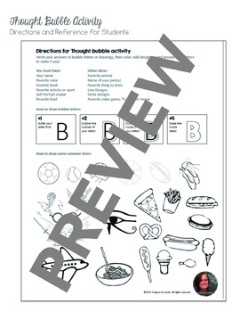 Back to School Activity - Get to know you - Thought Bubble No Prep Art Activity