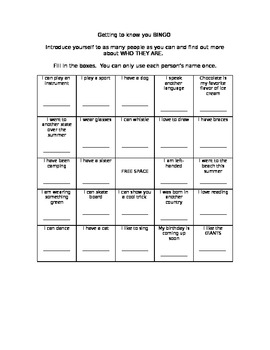 "Back-to-School Activity: ""Getting to Know You Bingo"""