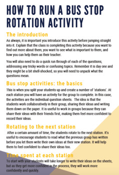 Back to School Activity: Getting to Know You Bus Stop Rotations