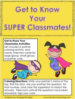 Back to School Activity - Getting to Know Your Super Classmates