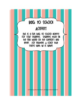 Back to School Activity Grid