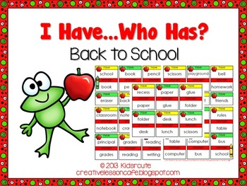 Back to School Activity~ I Have, Who Has? Card Set {School Words}