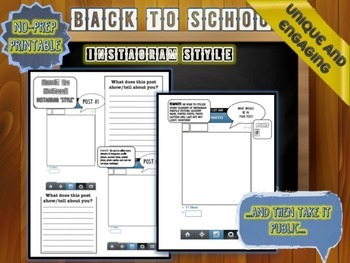Back to School Activity: Introduce Yourself with Instagram- No-Prep Printable