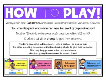 Beginning of the Year - Back to School Activity Movement Game