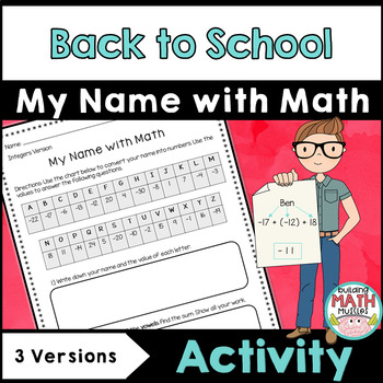 Back to School Activity - My Name in Math