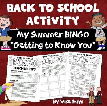 Back to School Summer Bingo
