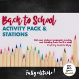 Back to School Activity Pack     First Week of School Stations & Lessons