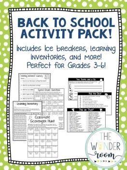 Back to School Activity Pack - Grades 3-6 - Back to School Activities