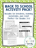 Back to School Activity Pack - Grades 3-6 - Back to School