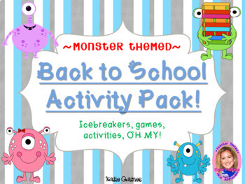 Back to School Activity Pack- MONSTER THEMED!