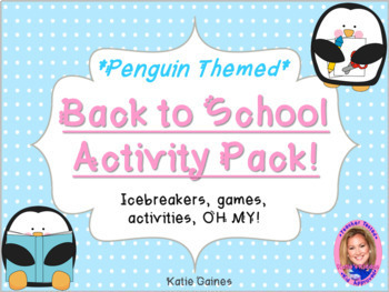 Back to School Activity Pack- PENGUIN THEMED
