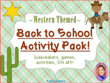 Back to School Activity Pack- WESTERN THEMED