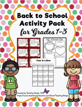 Back to School Activity Pack for First to Third Grades