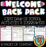 First Day of School: Welcome to 4th Grade [NO PREP]