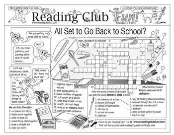 Back to School Two-Page Activity Set