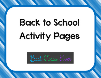 Back to School Activity Pages