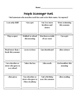Back to School Activity - People Scavenger Hunt