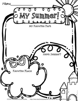 Back-to-School Activity Sample Freebie: About Me / Summer