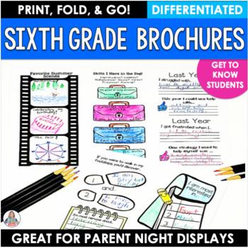 Back to School Activity Sixth Grade Brochures