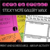 Back to School Activity - Sticky Note Question Gallery Walk
