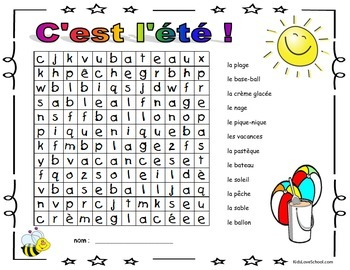 Back to School Activity-Summertime Three Word Searches and ALL in French!