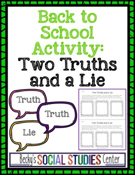 Back to School Activity: Two Truths and a Lie