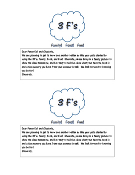 Back to School Activity Using the 3Fs