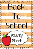 Back to School Activity - What Worries you About Starting