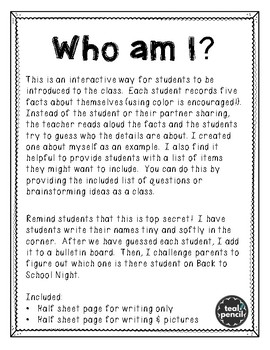 Back to School Activity--Who am I?