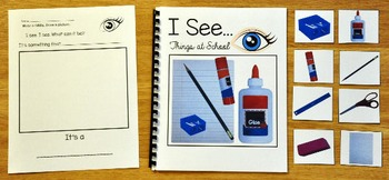 """Back to School Adapted Book-""""I See"""" Things at School"""