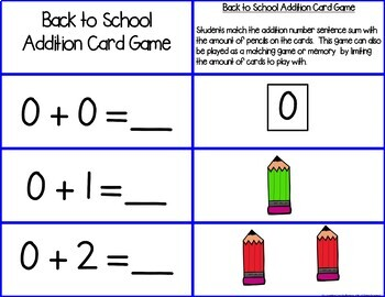 Back to School Add & Subtract 0-10 Number Sentence Match