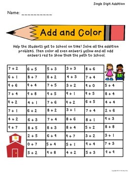 Back to School Add and Color Activity