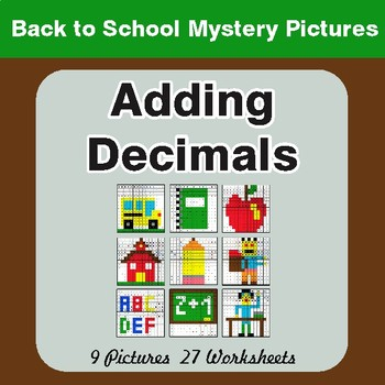 Back to School: Adding Decimals - Color-By-Number Math Mystery Pictures
