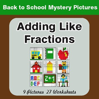 Back to School: Adding Like Fractions - Color-By-Number Math Mystery Pictures