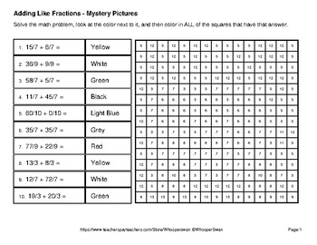Back to School: Adding Like Fractions - Color-By-Number Mystery Pictures