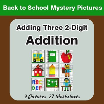 Back to School: Adding Three 2-Digit Addition - Color-By-Number Math Mystery Pictures