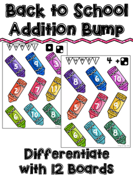 Addition Bump Game - Back to School Math Center