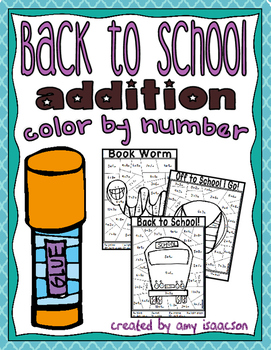Back to School Addition Color by Number