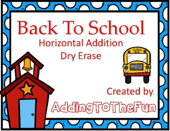 Back to School  Addition Dry Erase Cards
