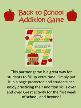Back to School Addition Game