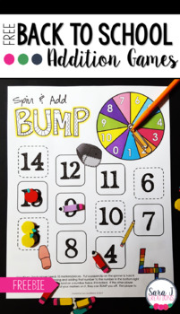 Addition Fact Fluency Games - Back to School BUMP