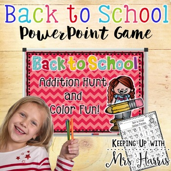 Back to School Addition, Hunt and Color Game