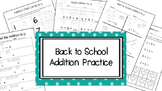Back to School Addition Practice to 5 and 10
