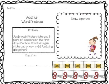 Back to School Addition Problem Solving Boards