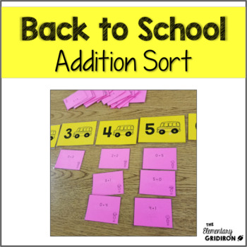Back to School Addition Sort