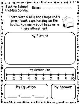 Back to School Addition & Subtraction Word Problems (Kindergarten/First)