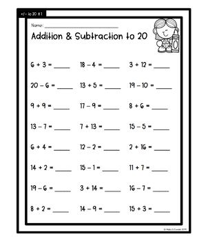 Back to School Addition & Subtraction to 20