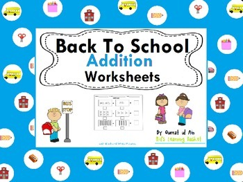 Back to School Addition Worksheets (Black and White):