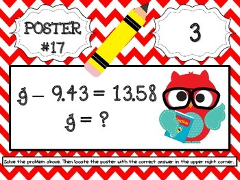 Back to School Addition and Subtraction Equations Scavenger Hunt